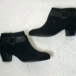 Limelight Black Faux Suede Ankle Strap Booties